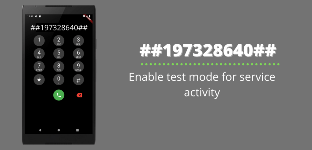 Enable test mode for service activity